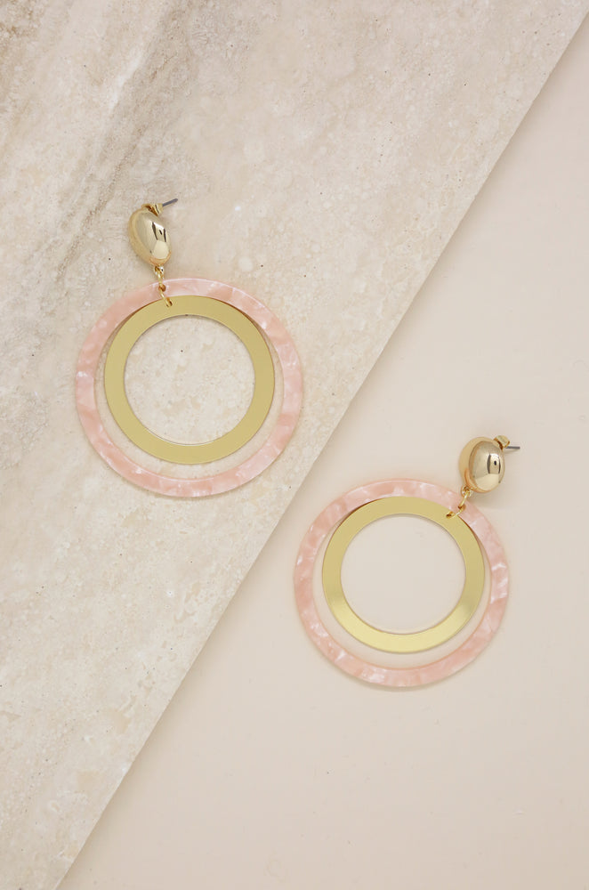 Large Pink Resin Circle & 18k Gold Plated Hoop Earrings