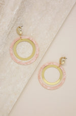 Large Resin Circle & 18kt Gold Plated Hoop Earrings in Pink