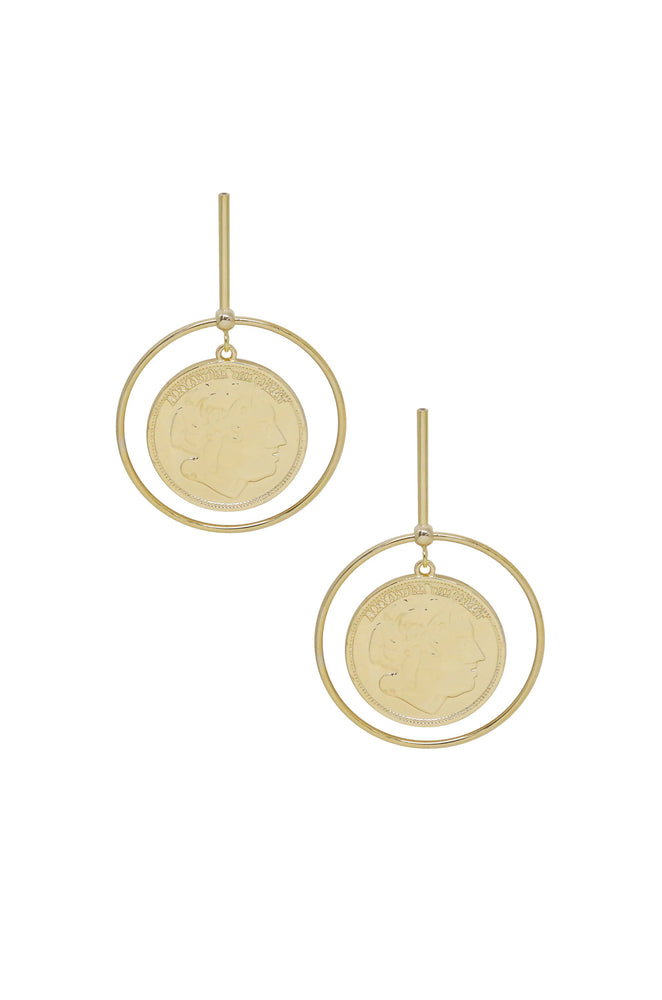 Lady Luck Gold Coin Dangle Earrings