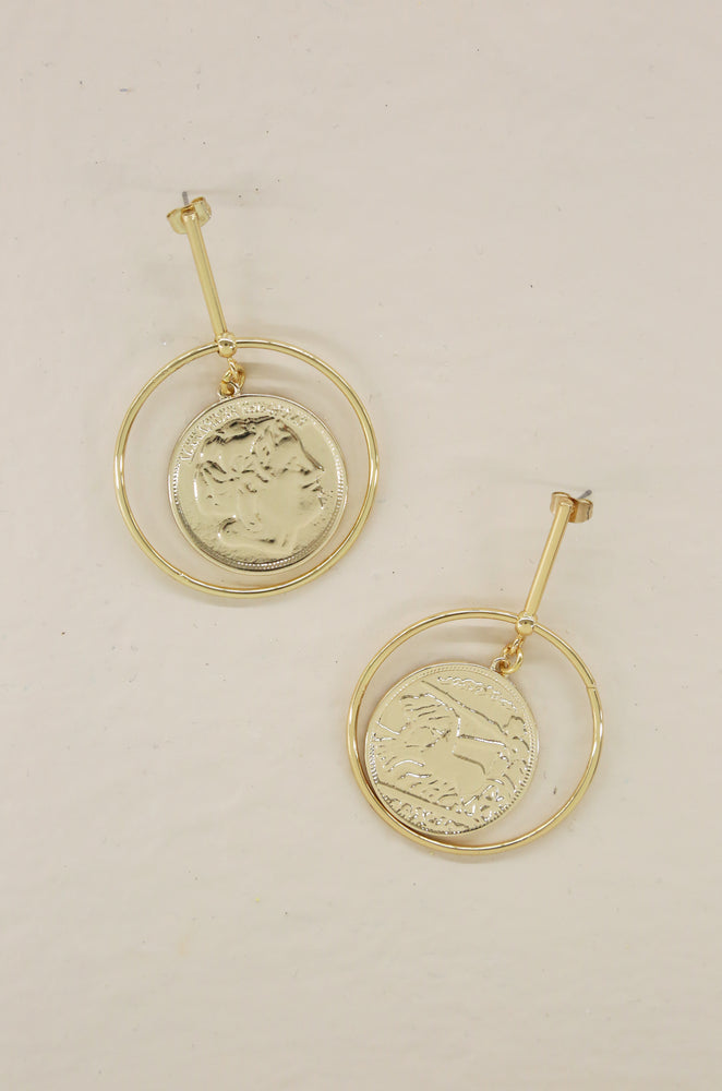 Lady Luck 18k Gold Plated Coin Dangle Statement Earrings