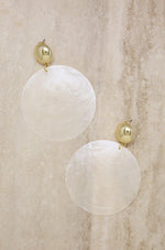 Beach Queen Large White Shell & 18k Gold Plated Earrings