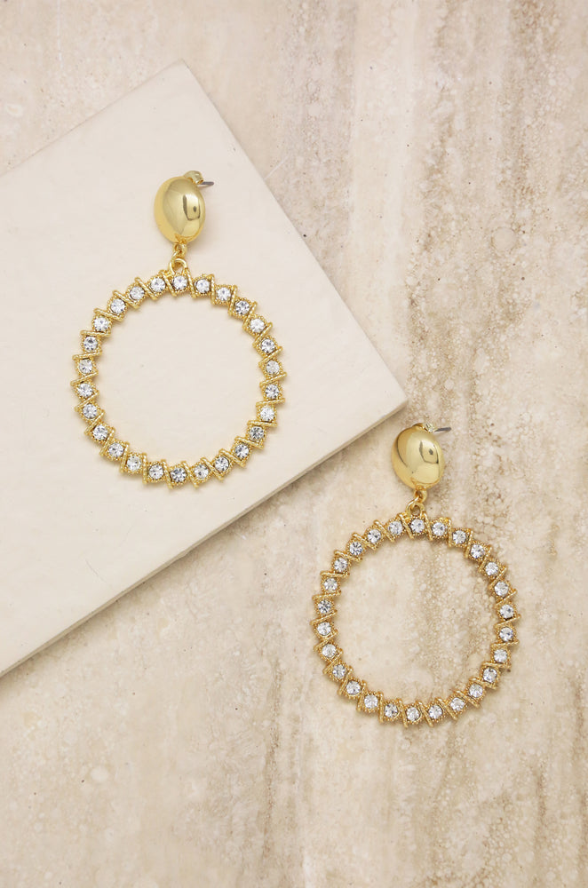 Cyclical Crystal Drop 18k Gold Plated Earrings
