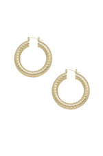 Thick Textured 18k Gold Plated Hoop Earrings