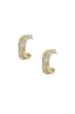 Crystal Intertwined 18k Gold Plated Small Hoop Earrings