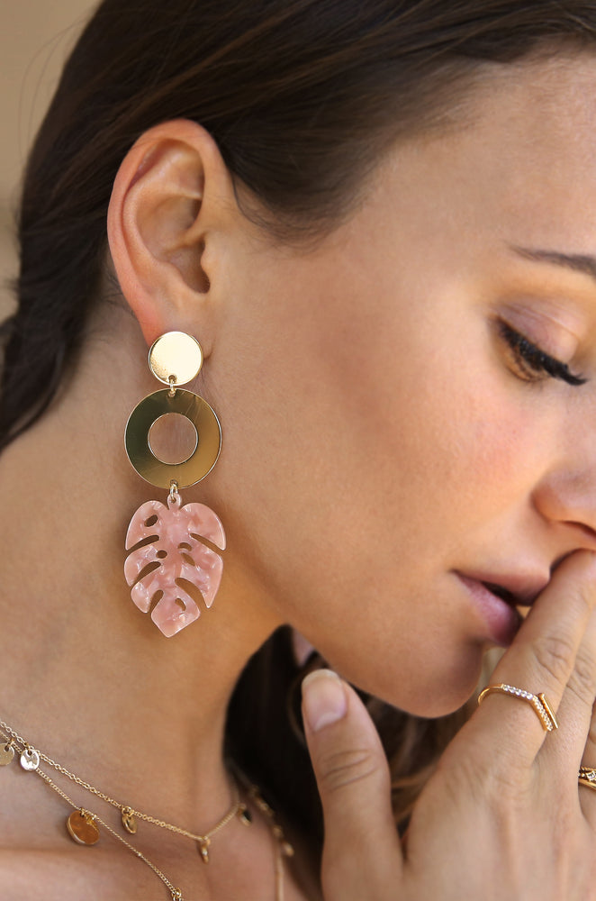 Tropics Blush Pink Resin Palm Leaf & 18k Gold Plated Earrings