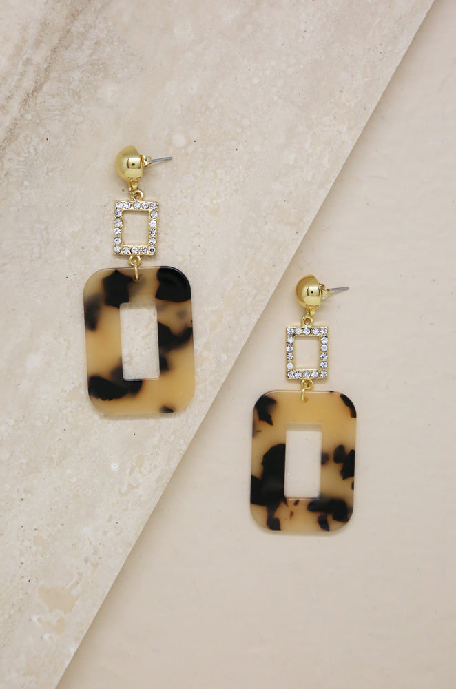Resin Rectangle Earrings in Tortoise with Crystals