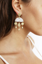 Geometric Gold & Resin Dangle Earrings in White