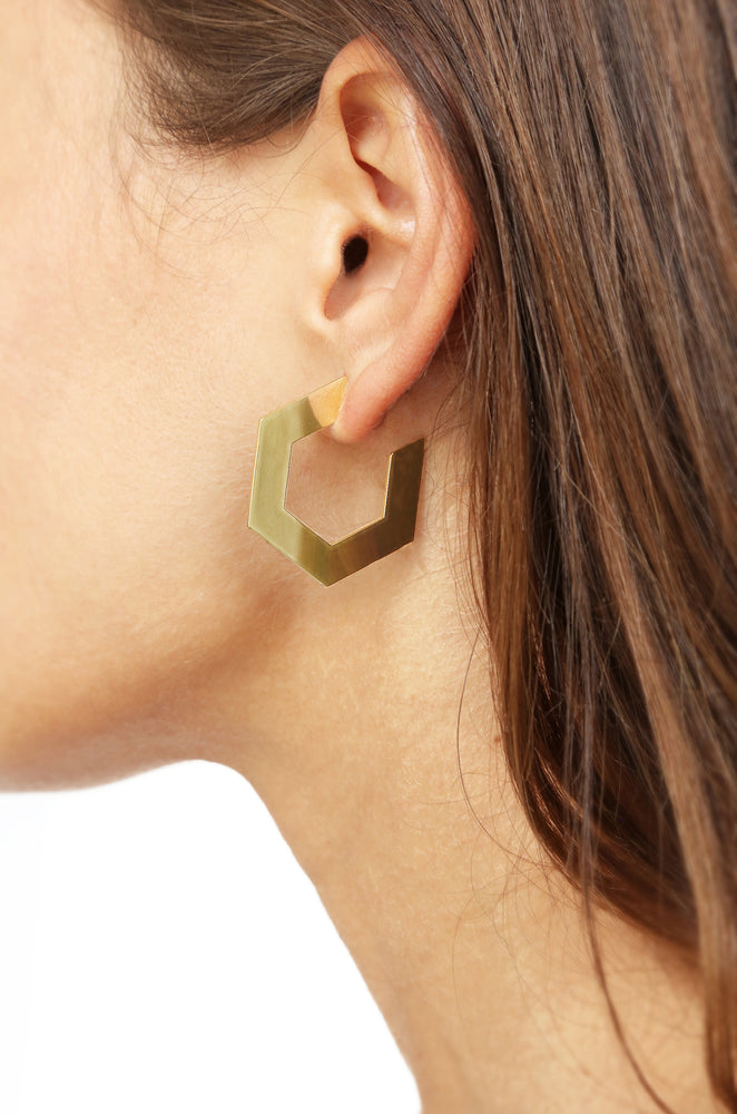 Flat Pentagon Hoop Gold Earrings