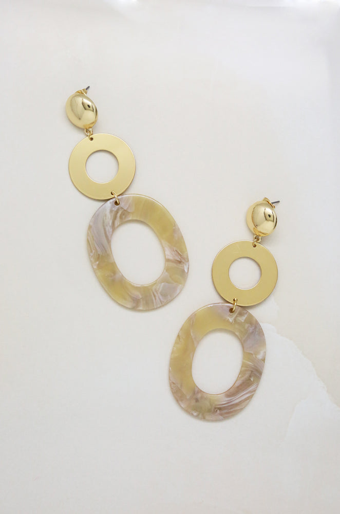 Lovely Taupe Resin Drop 18k Gold Plated Earrings
