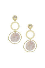 Inspired Blush Resin and Gold Dangle Earrings
