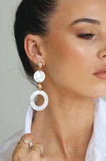 Soft Focus White Resin Circle Drop 18k Gold Plated Earrings