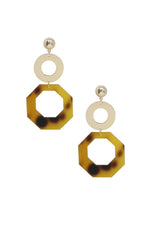 Resin Tortoise Shell Octagon 18k Gold Plated Drop Earrings on white background