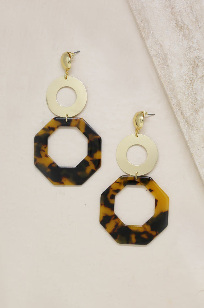 Resin Tortoise Shell Octagon 18k Gold Plated Drop Earrings on slate background