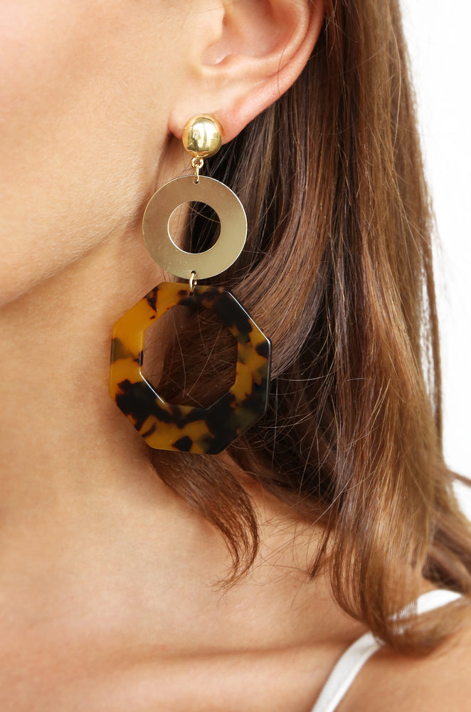 Resin Tortoise Shell Octagon 18k Gold Plated Drop Earrings shown on a model