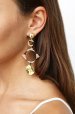 Light Tortoise Shell Resin Cutout Earrings in Gold