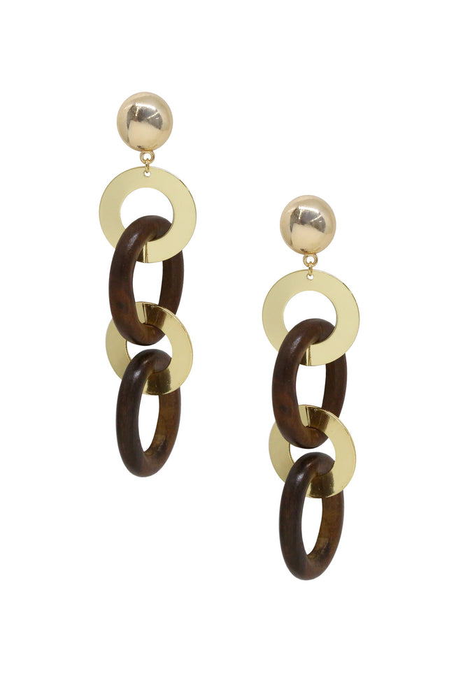 Large Wood and Gold Ring Earring