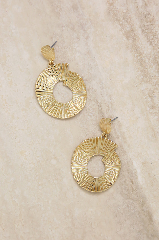 Textured Swirl Gold Drop Earrings
