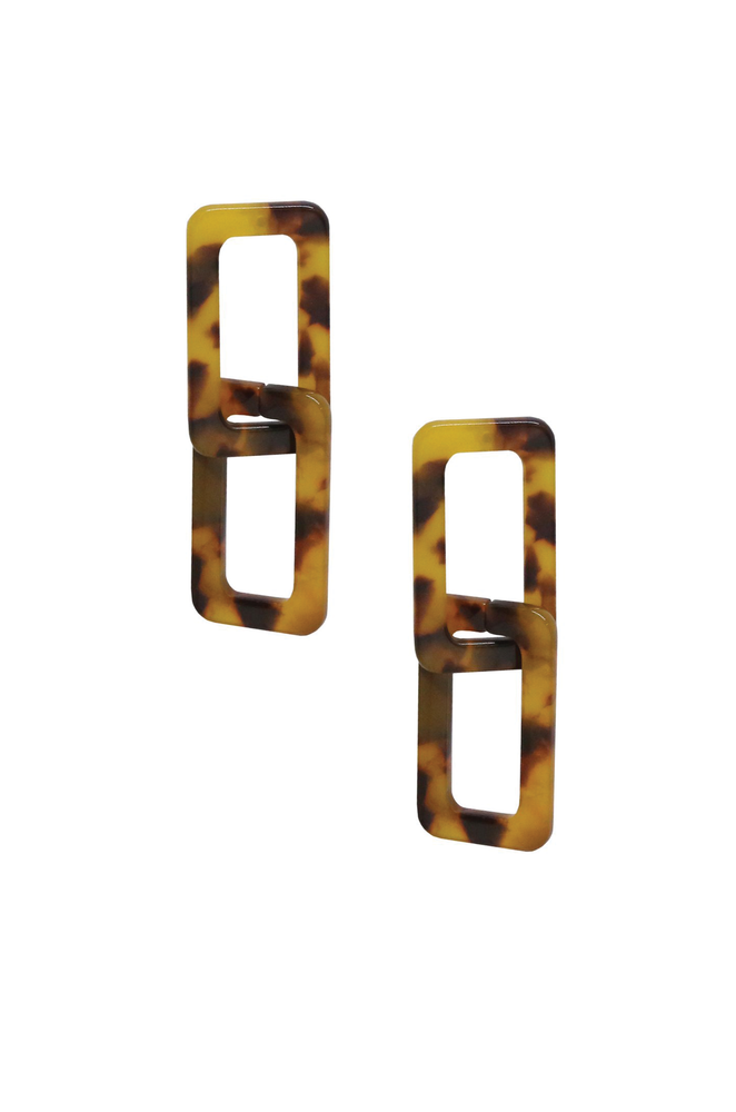 Interlocking Tortoise Resin Rectangle Earrings