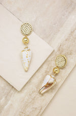 Nautical Shell & 18k Gold Plated Dangle Earrings