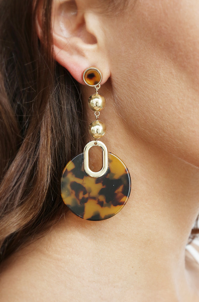 Wild Side Tortoise Resin 18k Gold Plated Dangle Earrings