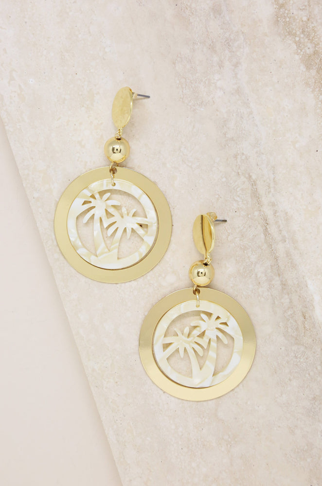 Island Hopper Resin & 18k Gold Plated Drop Earrings