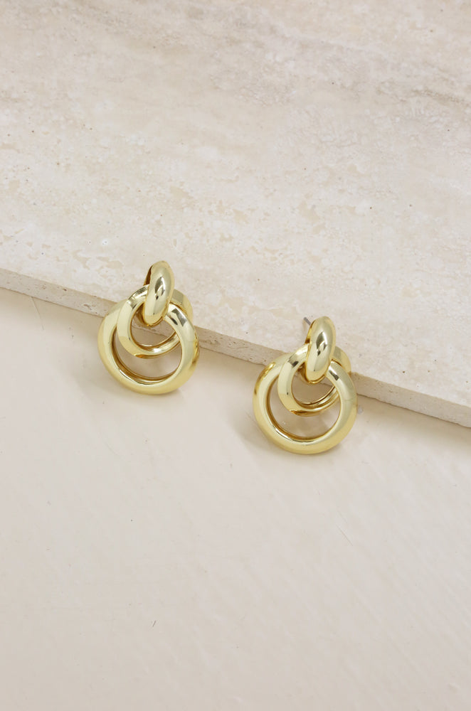 Classic Vibes Multi Ring 18k Gold Plated Statement Stud Earrings