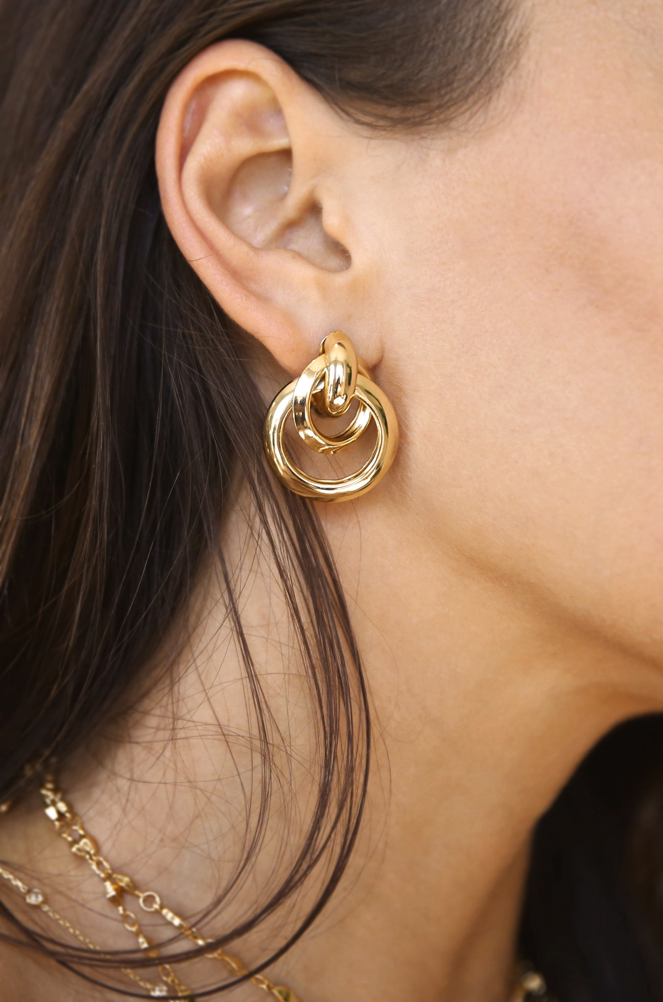Classic Vibes Multi Ring Stud Earring in Gold