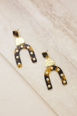 Lady Luck Tortoise Resin 18k Gold Plated Earrings
