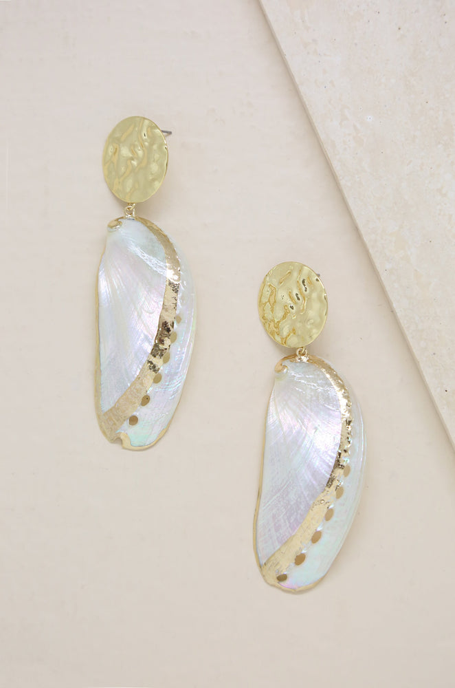Down the Shore Shell & 18k Gold Plated Drop Earrings