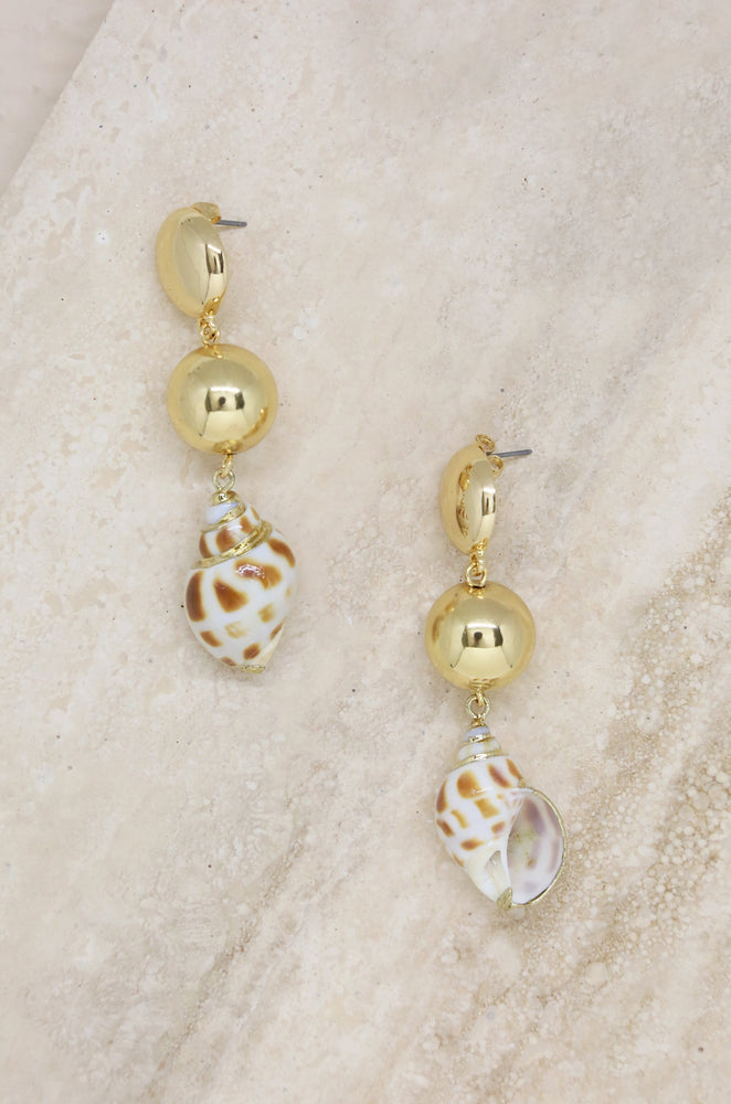 Conch Shell 18k Gold Plated Drop Earrings