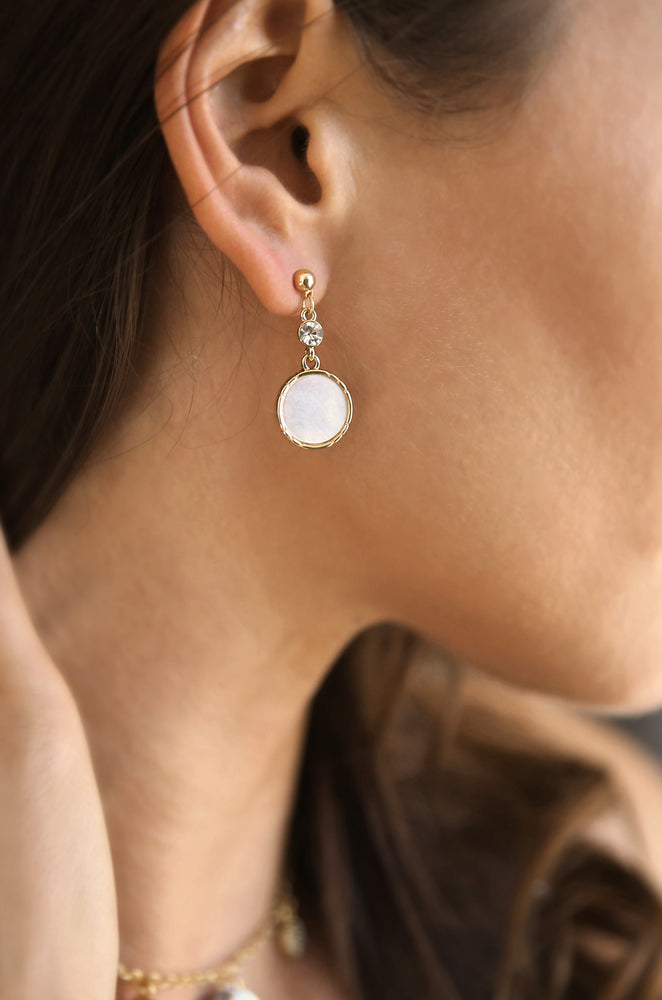 Love by the Moon White Drop 18k Gold Plated Earrings