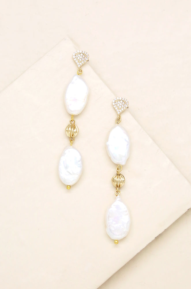 Freshwater Pearl Double Drop 18k Gold Plated Earrings