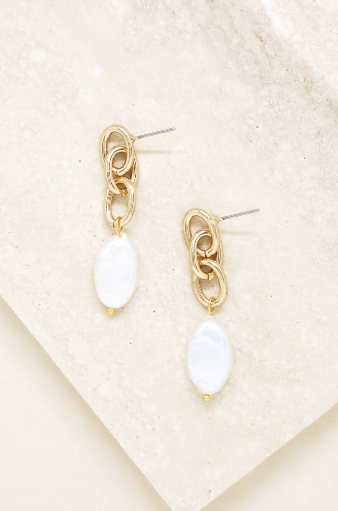 Chain & Freshwater Pearl Drop Earrings