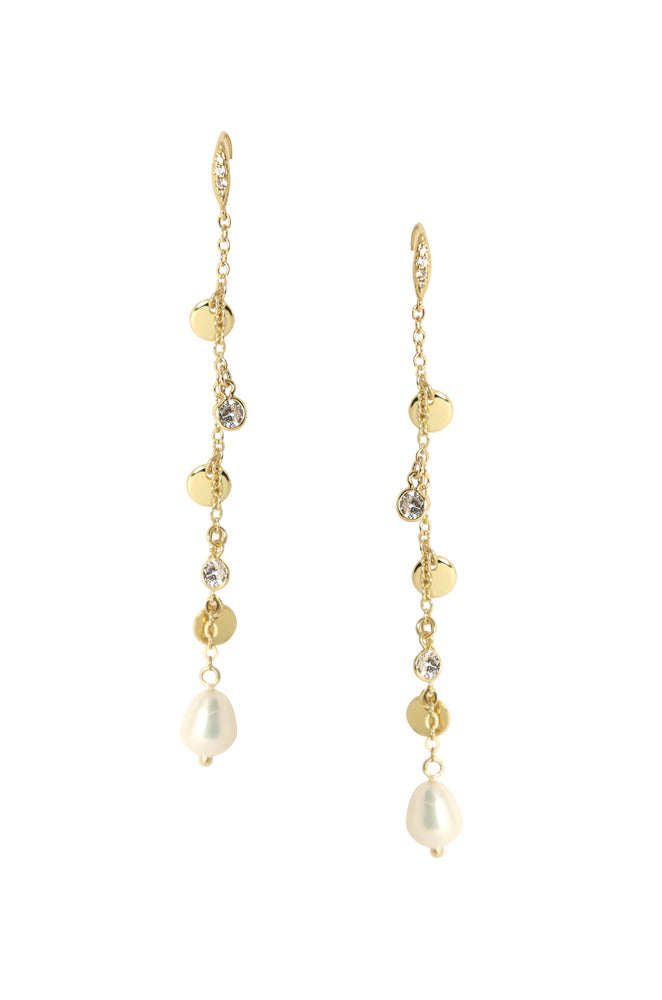 Delicate Dangle Freshwater Pearl 18k Gold Plated Earrings