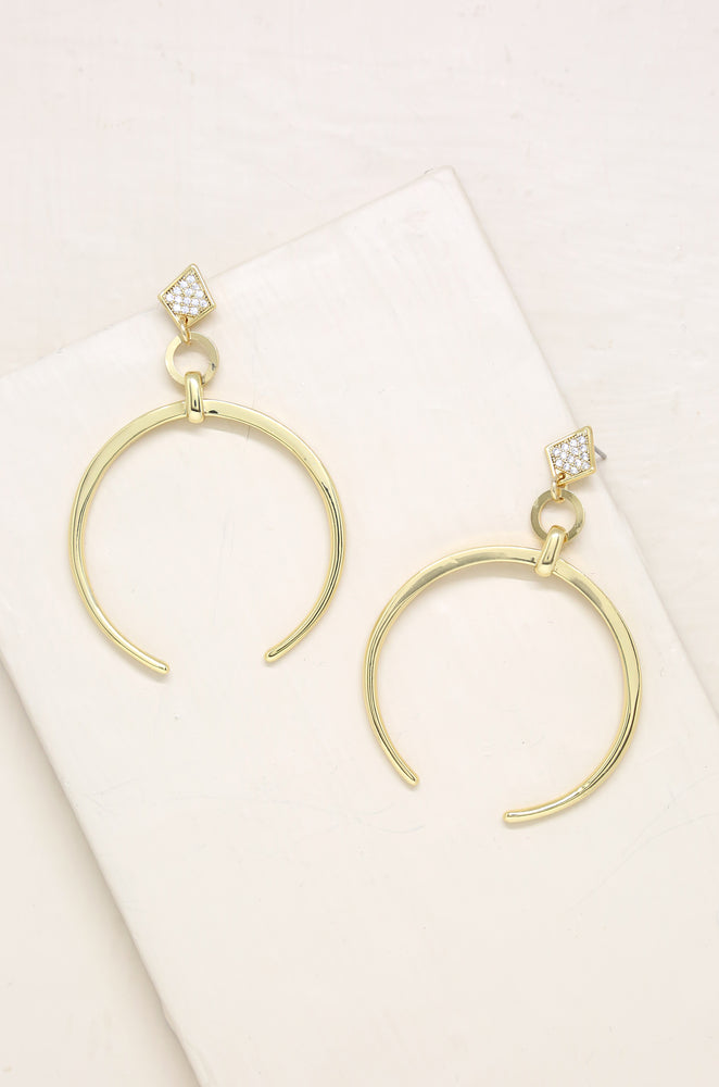 Gold Crescent Drop Earring in Gold
