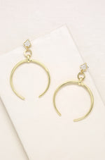 Gold Crescent Drop 18k Gold Plated Earrings