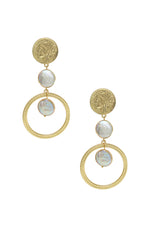 Your Majesty Coin & Freshwater Pearl Drop 18k Gold Plated Earrings on white background