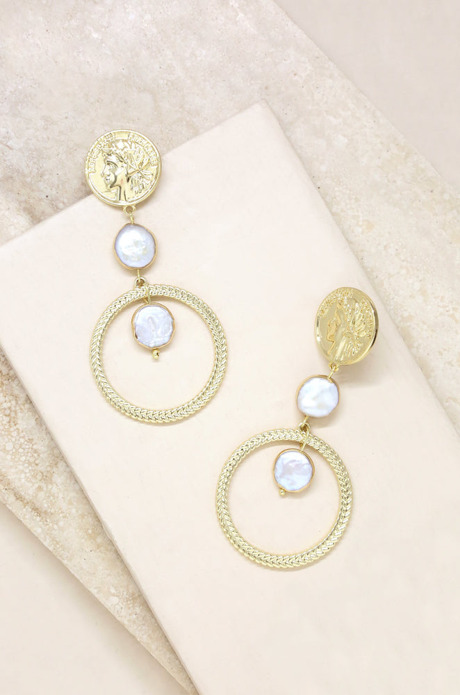 Your Majesty Coin & Freshwater Pearl Drop 18k Gold Plated Earrings on slate background