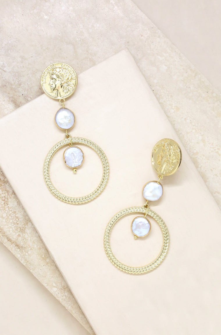 3c78970e1 Your Majesty Coin & Freshwater Pearl Drop Earring in Gold .