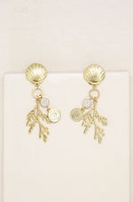 Seaside Shell & Coral Earring in Gold
