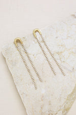 Double Crystal Chain Drop 18k Gold Plated Earrings