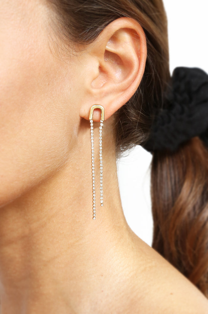Double Crystal Chain Drop Earring in Gold