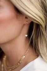 Lots of Love Chain & Heart 18k Gold Plated Drop Studs