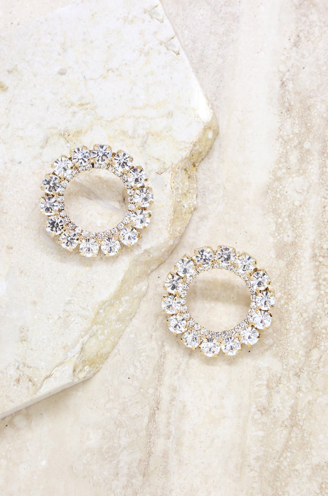 Large Crystal and Gold Circle Stud Earrings
