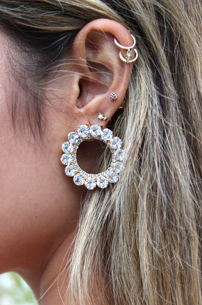Large Crystal & 18k Gold Plated Circle Stud Earrings