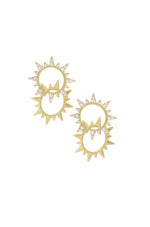 Crystal Golden Double Sun 18k Gold Plated Earrings