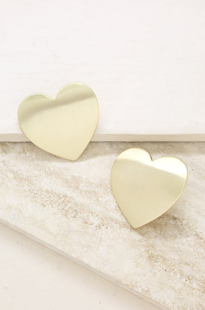 Flat Heart Statement 18k Gold Plated Stud Earrings