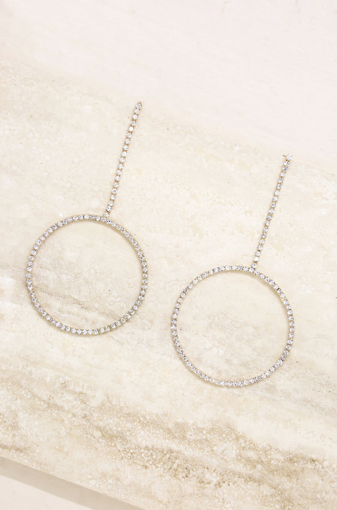 Crystal & 18k Gold Plated Linear Circle Drop Earrings