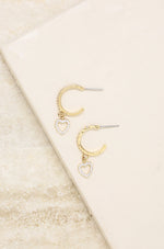 Small Crystal Heart Dangle Hoop 18k Gold Plated Earrings
