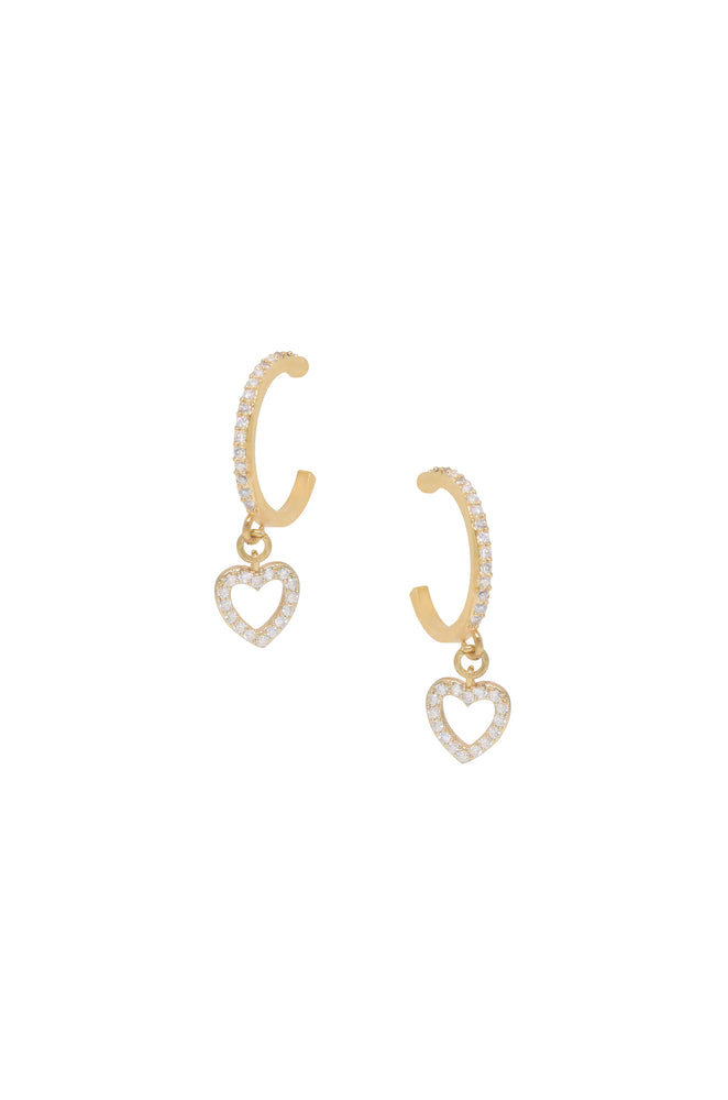 Small Crystal Heart Dangle Hoop in Gold